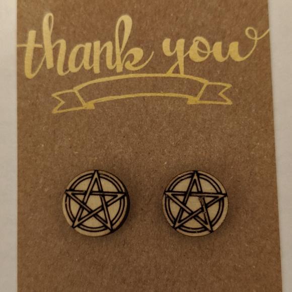 handmade Jewelry - Pentacle Wooden Laser Cut Stud Earrings NWT